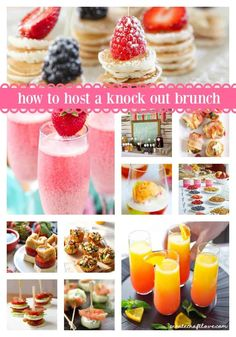 to Host a Knock Out Brunch Over ideas of how to throw a knock out brunch!Over ideas of how to throw a knock out brunch! Brunch Buffet, Brunch Menu, Sunday Brunch, Brunch Food, Brunch Appetizers, Birthday Brunch, Easter Brunch, 40th Birthday, Birthday Ideas