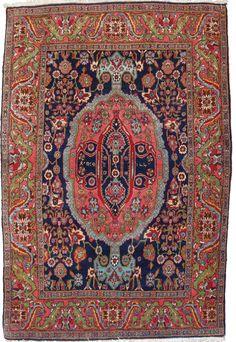 4.7 x 6.8 Antique Bidjar Rug, Northwest Persia, Afshan Design, Signed and Dated Circa 1919  I QUADRIFOGLIO GALLERY