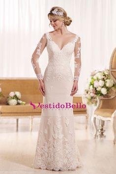 2016 cuello en V manga larga de la envoltura de la boda vestidos de tul con apliques espalda abierta US$ 249.99 VTOPCZE9DEK - vestidobello.com