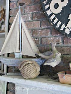 Coastal Summer Mantel with Sailboat, Sea Gulls etc.