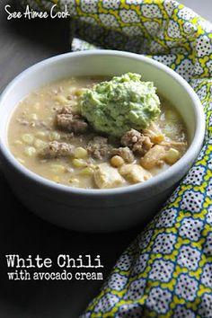 White Chili with Avocado Cream   See Aimee Cook