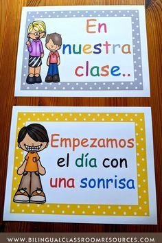 Dual Language Classroom, Bilingual Classroom, Bilingual Education, Classroom Resources, Teacher Resources, Spanish Projects, Spanish Lessons, Behavior Management Strategies, Classroom Management
