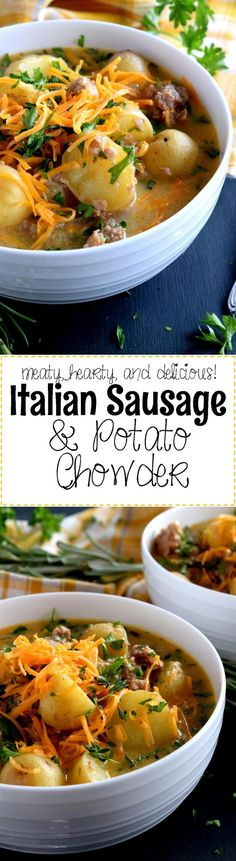 Italian Sausage and Potato Chowder - A savoury and hearty chowder which satisfies the cold weather hunger. Italian Sausage and Potato Chowder is flavourful and filling; you're going to love this recipe! Best Soup Recipes, Chowder Recipes, Chili Recipes, Dinner Recipes, Favorite Recipes, Sausage Recipes, Cooking Recipes, Keto Recipes, Snack Recipes