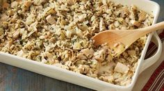 """Here's a dish that's quick to prepare and easy to enjoy. No one will complain, """"Turkey leftovers again?"""" Wild Rice and Turkey Casserole Wild Turkey Recipes, Ground Beef Recipes, Chicken Recipes, Dog Recipes, Turkey Casserole, Casserole Recipes, Rice Casserole, Chicken Casserole, Stuffing Casserole"""