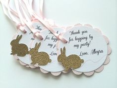 10 Pink and Gold BUNNY Scallop Tag.  by PaperTrailbyLauraB on Etsy