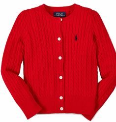NWT Ralph Lauren Girls Red Cable Cardigan Size 5 #RalphLauren #Cardigan #DressyEveryday