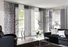 Eichenhaus Gleitpaneele Vorhang weiß grau Ornamente