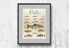 Graphic Poster Retro Art Print Fish Print Retro by shlomitsart Black Goldfish, Beach Cottage Decor, Beach Wall Art, Fish Print, Coastal Art, Retro Art, Poster Retro, Fine Art Prints, Georgia
