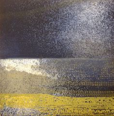Etching Print . Navy Blue and Yellow Home Decor by ElviaPerrin, $45.00