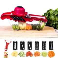 Mandoline Vegetable Slicer Cutter Chopper,JungleArrow 6 in 1 Interchangeable Blades with Peeler with Food Catch Tray Vegetable Chopper, Vegetable Slicer, Mandolin Slicer, Watery Eyes, Food Chopper, Grater, Food Storage Containers, Food Preparation, Kitchen Gadgets