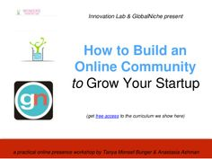 Your entrepreneurship goals are your online presence goals and community is how you get things done. Slides from May 2014 workshop I did with Tanya Bunger for Silicon Valley startup founders at Women's Startup Lab.