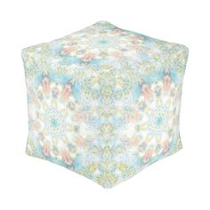 Pastel Flower Mandala Cube Pouf #mandala #pastel, #flower #colorful #abstract #oudeen #pink #green #blue #white #pattern #zazzle #art #trendy #design #graphic #graphicdesign #dreamy