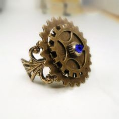 Steampunk Victorian Ring Antique Gold Sapphire Ring by pink80sgirl, $25.00