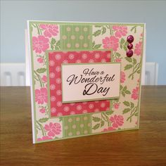 Luxury handcrafted 6x6 birthday card using white linen card & Dovecraft Garden Party papers.