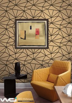 Seabrook Wallpaper - Geometric - Geometric design wallcovering in a sitting room photo Lines Wallpaper, Graphic Wallpaper, Pattern Wallpaper, Wallpapering Tips, Wallpaper Suppliers, Bespoke Design, A 17, Designer Wallpaper, Decorative Accessories
