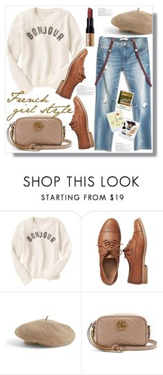 """""""French Girl Style"""" by queenvirgo ❤ liked on Polyvore featuring Gap, Venus, Gucci, Bobbi Brown Cosmetics and Polaroid"""