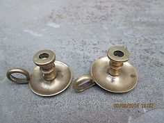 Vintage Miniature Brass Colonial 18th C Style Chamberstick Candle Holders Pair | eBay