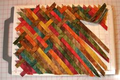 a weaving pattern of over three, under two. Nothing scientific, but it felt right for the size of the project and the width of the bias tape