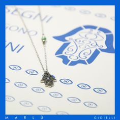 Collana in acciaio con la protezione della Mano di Fatima. S.steel necklace with Fatima's Hand protection. #hamsahand