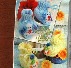 Tricotando para o Neném: Sapatinho cachorrinho e palhacinho de crochê!!!  http://tricotando-para-o-nenem.blogspot.com.br/