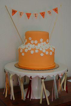Orange Flower Cake with Bunting