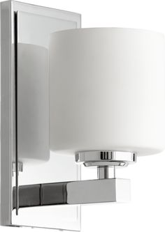 View the Quorum International 5669-1 1 Light Bathroom Sconce with Frosted Glass Cylinder Shade at LightingDirect.com.