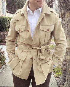 """""""The winter safari jacket in suede. Goes with everything, like an oxford cloth button down shirt and tweed trousers. Or jeans."""""""