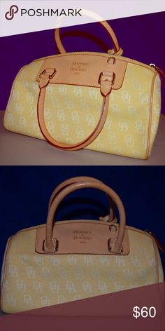 Dooney & Bourke handbag Dooney &. Bourke signature yellow and light tan trim leather shoulder bag Dooney & Bourke Bags Shoulder Bags