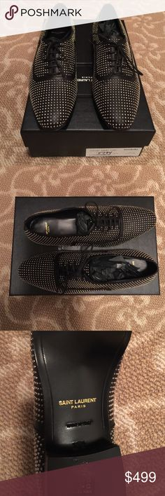Saint Laurent NIB Black Silver Studded Shoes 38.5 SAINT LAURENT NIB BLACK SILVER STUD OXFORD BOUGHT AT BARNEY'S $995 SIZE 37.5 BUT RUNS BIG, I WEAR AN 8.5 AND THEY FIT LEATHER TIES, SILVER STUDS BEAUTIFUL Saint Laurent Shoes Flats & Loafers