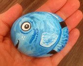 Fish hand painted rock pet on stone cobble