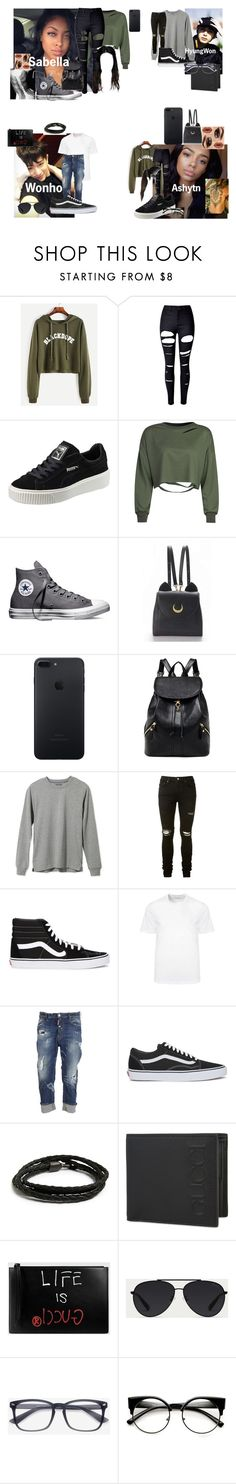 """""""Assistant"""" by teylorann on Polyvore featuring WithChic, Puma, Converse, Make, L.L.Bean, AMIRI, Vans, Versace, Dsquared2 and MIANSAI"""