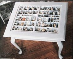Love this idea, I have the printers tray, shells, and old table legs, and I even need a side table in the living room!