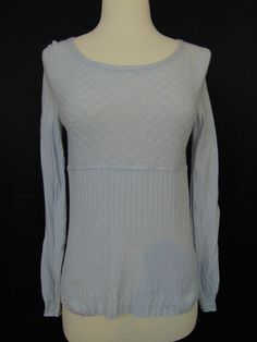 Guinevere Anthropologie Knit Top Wool Blend Light Blue Long Sleeve Medium #1031 #Guinevere #KnitTop #Casual