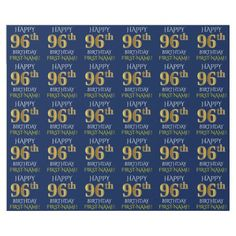 "Blue Faux Gold ""HAPPY 96th BIRTHDAY"" Wrapping Paper - wrapping paper custom diy cyo personalize unique present gift idea"
