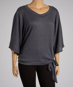 Another great find on #zulily! Charcoal Side-Tie Cape-Sleeve Top - Plus #zulilyfinds