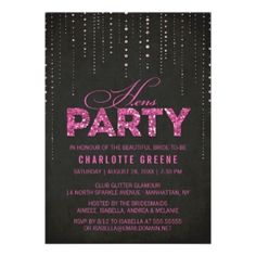 Sparkly Glitter Hens Party Invitation