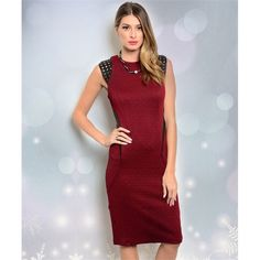 Sexy Burgundy Dress This sleeveless dress features a high neckline and laser cutout cap sleeves as well as cutout panel inserts along sides of waist. 95% polyester 5% spandex. Dresses