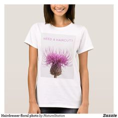Hairdresser floral photo T-Shirt Party Hats, Hairdresser, Wardrobe Staples, Fitness Models, Hair Cuts, T Shirts For Women, Female, Creative, Floral