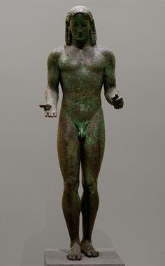 "Kouros (so-called ""The Peiraeus Apollo""). Bronze. Early 5th cent. BCE, or 530—520 BCE. Athens, Archaeological Museum of Piraeus."