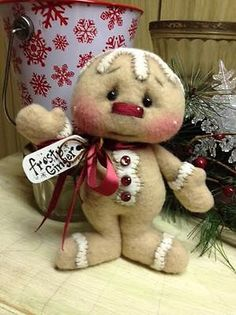 Primitive Raggedy Christmas Gingerbread Snowman **SPECIAL LISTING Quackers2008** in Dolls & Bears, Bears, Artist | eBay