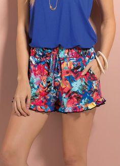 Shorts com Babados na Barra (Mix de Estampa)