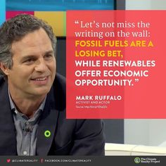 Good luck at the #oscars tonight @markruffalo! Thank you for putting the #spotlight on climate change. #Oscars2016  #ActOnClimate #RenewableEnergy #Renewables #Solar #WindPower #Climate #ClimateChange #ClimateReality #Environment #GlobalWarming #ClimateRealityProject #ClimateHope #ClimateChangeIsReal #CleanEnergy #CleanPower #SolarPower by climatereality