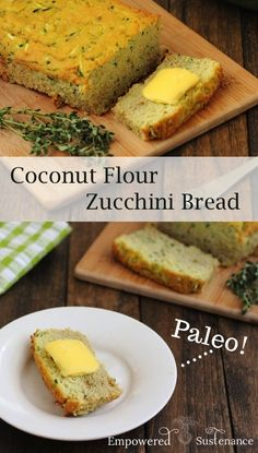 Paleo Coconut Flour Zucchini Bread is easy to prepare, moist and delicious! Paleo recipes are gluten-free, grain-free, refined sugar free, and dairy free to reduce inflammation and improve wellbeing. Savory Zucchini Bread, Paleo Bread, Paleo Baking, Courgette Bread, Paleo Pizza, Zucchini Muffins, Whole Food Recipes, Diet Recipes, Cooking Recipes