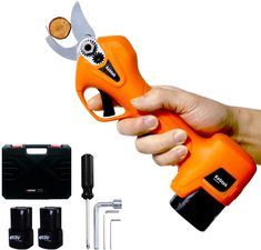 Amazon.com : Kebtek Pruning Shears Battery Powered, Electric Pruning Shears Electric Branch Scissors Cordless with Brushless Motor 2 Pack Backup Rechargeable 2Ah Lithium, 25mm [0.98inch] Cutting diammeter (Orange) : Garden & Outdoor Electric Scissors, Pruning Shears, Outdoor Gardens, Outdoor Power Equipment, Garden Tools, Drill, Packing, Orange, Amazon