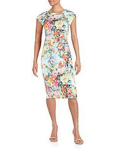 eci Floral-Print Sheath Dress - Color - Size