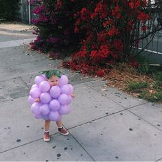 A little grape walking down the street. Fun balloon idea for an easy costume party outfit.