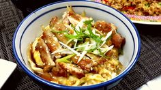 Oyakodon This is my favourite one. This sauté  boneless chicken drumstick serve with pouch egg serve with slices spring onion and drizzled teriyaki sauce