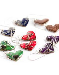Circuit board earrings - Geeky earrings - recycled computer - heart dangle earrings