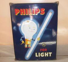 C1930 Rare Mint OLD Vintage Philips Light Character Porcelain Enamel Sign Board   eBay