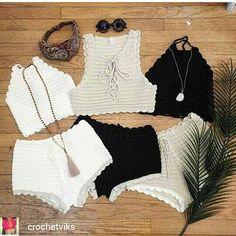Captivating Crochet a Bodycon Dress Top Ideas. Dazzling Crochet a Bodycon Dress Top Ideas. Bikinis Crochet, Crochet Shorts, Crochet Crop Top, Crochet Blouse, Love Crochet, Knit Crochet, Crochet Dress Outfits, Crochet Clothes, Crochet Designs
